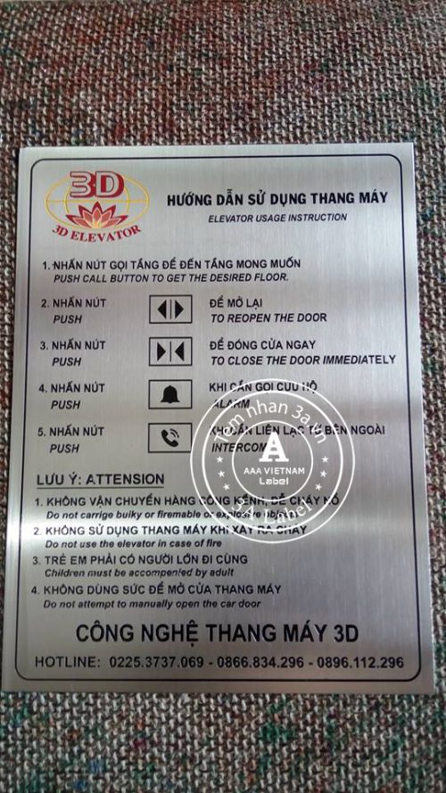 Biển HDSD thang máy